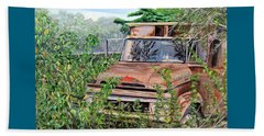 Beach Towel featuring the painting Old Truck Rusting by Marilyn  McNish