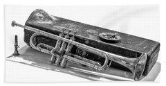 Old Trumpet Beach Towel by Walt Foegelle