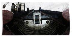 Old Typewriter Machine In Grunge Style Beach Towel by Michal Boubin