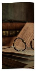 Old Vintage Books With Reading Glasses Beach Towel