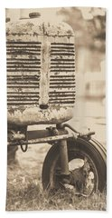 Old Vintage Tractor Brown Toned Beach Sheet by Edward Fielding