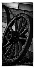 Old Wagon Wheel Beach Sheet by Joann Copeland-Paul