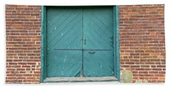 Old Warehouse Loading Door And Brick Wall Beach Sheet