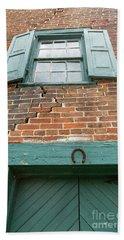 Old Warehouse Window And Lucky Door Beach Towel