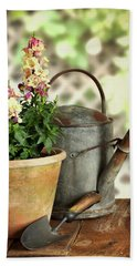 Old Watering Can With Plant Beach Towel