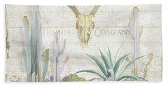 Old West Cactus Garden W Deer Skull N Succulents Over Wood Beach Towel