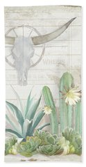 Old West Cactus Garden W Longhorn Cow Skull N Succulents Over Wood Beach Towel