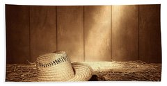 Old West Farmer Hat Beach Towel