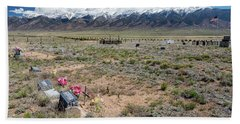 Old West Rocky Mountain Cemetery View Beach Sheet by James BO Insogna