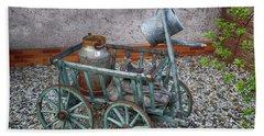 Old Wheelbarrow With Milk Churn Beach Towel