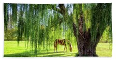 Old Willow Tree In The Meadow Beach Sheet