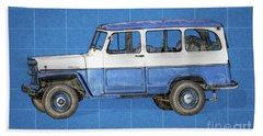 Old Willys Jeep Wagon Blueprint Beach Towel