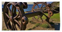 Old Winch Tintagel Beach Towel by Richard Brookes