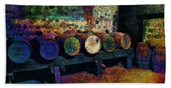 Beach Towel featuring the digital art Old Wine Barrels by Glenn McCarthy Art and Photography