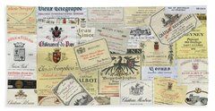 Old Wine Labels Beach Sheet