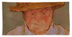 Old Woman With Yellow Hat Beach Sheet