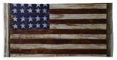 Old Wooden American Flag Beach Towel