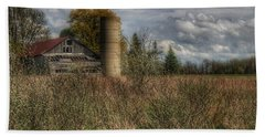 0034 - Old Wooden Barn And Silo Beach Towel