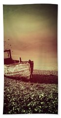Old Wooden Boat Beach Sheet