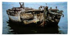 Old Wooden Fishing Boat Beach Towel