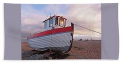 Old Wooden Fishing Boat Home By Sunset Beach Towel