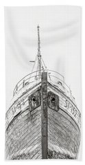 Beach Towel featuring the photograph Old Wooden Fishing Boat In The Fog Iceland by Edward Fielding