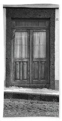 Old Wooden House Door Beach Sheet