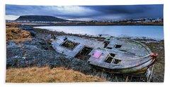 Old Wooden Ship On Beach Beach Sheet by Joe Belanger