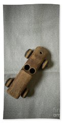 Old Wooden Toy Car Still Life Beach Sheet by Edward Fielding