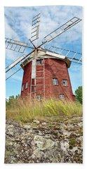 Old Wooden Windmill In Sweden Beach Towel