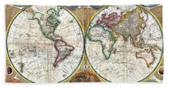 Old World Map Print From 1794 Beach Towel