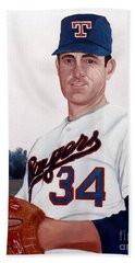 Beach Towel featuring the painting Older Nolan Ryan With The Texas Rangers by Rosario Piazza