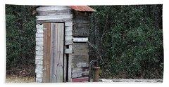 Oldtime Outhouse - Digital Art Beach Sheet