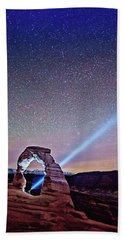 Olena Art Starry Night Pointer At Delicate Arch Moab National Park Beach Sheet