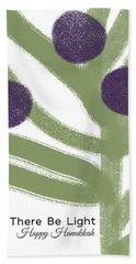 Olive Branch Hanukkah Card- Art By Linda Woods Beach Towel