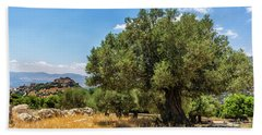 Olive Tree And Nimrod Fortress Beach Towel