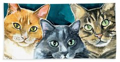Oliver, Willow And Walter - Cat Painting Beach Towel