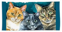Oliver, Willow And Walter - Cat Painting Beach Sheet
