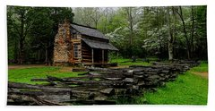 Oliver's Cabin Among The Dogwood Of The Great Smoky Mountains National Park Beach Towel