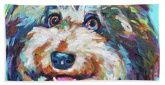 Beach Sheet featuring the painting Olivia, The Aussiedoodle by Robert Phelps