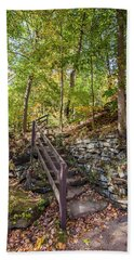 Beach Towel featuring the photograph Olmsted Falls Staircase by Lon Dittrick