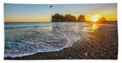 Beach Towel featuring the photograph Olympic Peninsula Sunset by Martin Konopacki