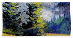 Beach Sheet featuring the painting Olympic Range by Nancy Merkle