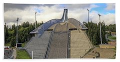 Olympic Ski Jump Oslo, Norway  Beach Sheet by Allan Levin