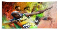 Olympics 100 M Gold Medal Usain Bolt Beach Towel