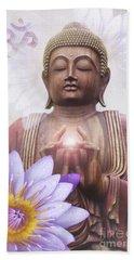 Om Mani Padme Hum - Buddha Lotus Beach Towel