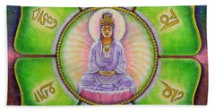 Beach Towel featuring the painting Om Mani Padme Hum Kuan Yin by Sue Halstenberg