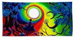 Om Tree Of Life Meditation Beach Sheet by Laura Iverson