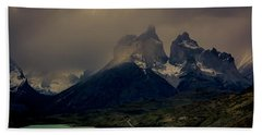 Beach Towel featuring the photograph Ominous Peaks by Andrew Matwijec