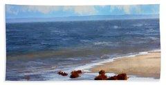 On A Clear Day Beach Sheet by Judy Palkimas